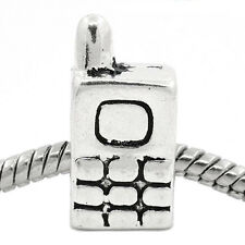 Cell Phone Cellular Mobile Telephone Bead for Silver European Charm Bracelets