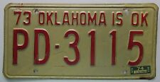 Oklahoma 1974 POTTAWATOMIE COUNTY License Plate # PD-3115