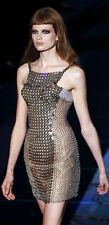 VERSACE CHAIN-MAIL AND SILK-SATIN MINI DRESS IT 38 UK 6/8