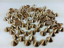 100pcs 10mm Rose Gold HOTFIX CONE Spike STUDS, PUNK, DIY FASHION Gems, Stick on