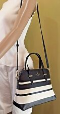 Kate Spade Cedar Street Stripe Maise Black Cement Satchel Crossbody Bag+Dust Bag