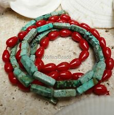 Natural Red Sea Coral & Turquoise Mix Bead Strands Rectangle Tear Drops 2 x 16""