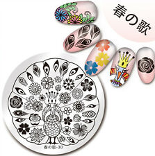 1Pc Nail Art Stamping Plate Peacock Flower Design Manicure Template Harunouta-30