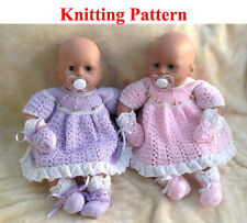 "Knitting pattern for 15-18 "" doll dress mittens bootees"