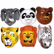 6 Wild Animal Plastic Childrens Face Masks/Fancy Dress Plastic Wildlife Masks