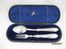 Antique Solid Silver  PRESENTATION BOXED SPOON & FORK  Hallmark BIRMINGHAM 1870