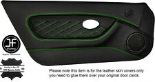 GREEN DIAMOND STITCH 2X FULL DOOR CARD TRIM LEATHER COVERS FOR MGTF MK2 00-06
