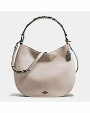 NWT COACH 55543 Willow Floral Nomad Hobo in Glovetanned Leather Gray Birch