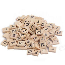 100X New Wooden Alphabet Scrabble Tiles Black Letters&Numbers Board Games Crafts