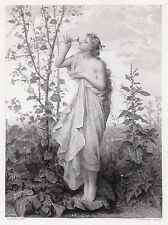 """JEAN LOUIS HAMON 1800s Engraving """"AURORA Mother of the Dews"""" SIGNED Framed COA"""