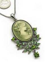 Vtg St Green Oval Lady Cameo Rhineston Crystal Necklace
