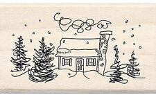 NEW INKADINKADO DOODLE SNOWY HOUSE RUBBER MOUNTED WOOD BLOCK STAMP 60-00351 SNOW