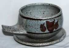 Japanese Inspired Studio Pottery Handled Soup Bowl and Saucer