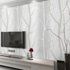 Embossed Birch Tree Mural Forest Abstract Wallpaper Modern Grey