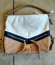 CAFE NOIR Purse Handbag Tote White Navy Tan Large W/ GOLD