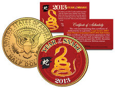 2013 Chinese NEW YEAR of the SNAKE Colorized JFK US Half Dollar Coin Gold Plated