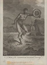 "Rare Large 1700's Hawaiian Print "" Man of the Sandwich Islands ""  Cooks Voyages"