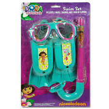 Dora the Explorer Swim Set NEW Mask Snorkel Flippers Ages 3+ Kids Child Play