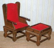 """Dollhouse Furniture Mini ~ Wood Wingback Chair & Ottoman ~ 4"""" tall"""