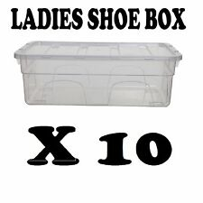 10 PLASTIC LADIES SHOE BOX STORAGE STACKABLE CLEAR BOX DRAWER TRANSPARENT UNIT