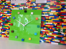 Handmade MOnkiStuff Designed Wall Clock Gloss Lime GREEN,made using LEGO® Bricks