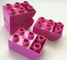 *NEW* 4 Pieces Lego DUPLO DARK PINK Brick 2x3 CURVED BOTTOM