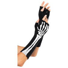 Skeleton Skull Bone Arm Warmer Halloween Print Fashion Women's Cotton Long Trim