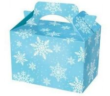 25 Frozen White Snowflake Food Boxes ~ Birthday Party Picnic Carry Meal Box Bag