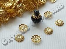 200 x Gold Plated Flower End Bead caps 9mm  -  Jewellery Craft Findings