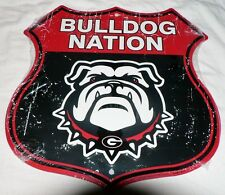 "GEORGIA DAWGS ""BULLDOG NATION"" SHIELD SIGN FOOTBALL GAME DORM ROOM MAN CAVE"