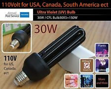 30W UV Ultra Violet Bulb 110V E27 ES Screw Mount Black Light Lamp CFL Save 150W