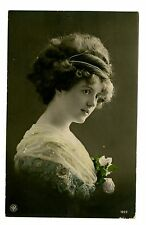 Artist Signed -PORTRAIT OF BEAUTY WITH BIG HAIR - Studio RPPC NPG Postcard