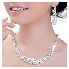 1Bridal Bridesmaid Wedding Party Jewelry Set Crystal Rhinestone Necklace Earring