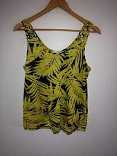 H&M Polyester Jersey Top Size S Yellow & Black Leaf  R11714