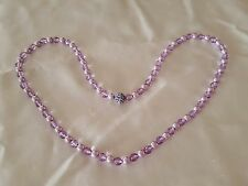 """NEW Signed JOAN RIVERS Lavender Purple simulated Crystal & Pearl 30"""" necklace"""