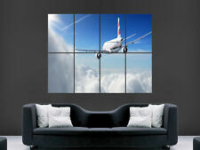 AEROPLANE POSTER JET SKY CLOUDS FLYING  ART WALL LARGE IMAGE GIANT POSTER 1