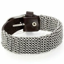 Metal Chain Wrap Black Brown Wide Leather Braided Men's Cuff Bracelet 10.6""