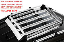 LARGE Universal ROOF RACK Tray Platform Carrier Aerodynamic Luggage Rack w/ Bars