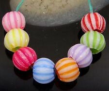 100 Mixed Color Acrylic Pony Pumpkin Beads spacer Rondelle 9x8mm