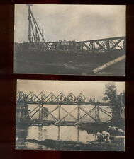 CA, Serbia, Banat, Building of Bridge, German soldiers, WW1, Lot of 2 pictures