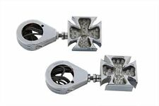 CHROME MALTESE CROSS LED TURN SIGNAL SET WITH 39 MM CLAMPS - CUSTOM APPLICATIONS