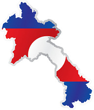 "Laos Country Flag Map Car Bumper Window Mirror Sticker Decal 4""X5"""