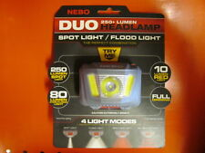 250 Lumen NEBO Duo Headlamp Spot Light Flood Light 4 Light Modes Red and White