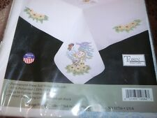 "Tobin Stamped Cross Stitch Embroidery Tablecloth ROOSTER 50"" x 70"""