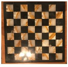 "Black and Cream-Streaked Marble/Stone Chess Set 14x14"" -- 3-inch King"