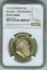 NGC Proof 63 Cameo 1911D Bavaria Germany Silver 3 Marks-90th Birthday!