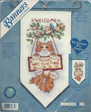 PLEASE WIPE YOUR PAWS ~ COUNTED CROSS STITCH BANNER KIT - DIMENSIONS