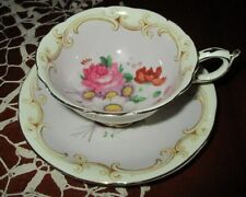 PARAGON BONE CHINA FOOTED TEA CUP & SAUCER SET PURPLE WITH PINK & RED ENGLAND