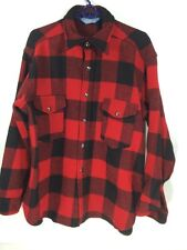 Pendleton Woolen Mills Wool Virgin  Shirt Red Black Plaid Large L Snaps 100%