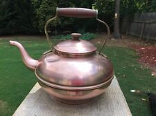 Vintage Copper Tea Kettle Tagus Wood/Bronze Handles